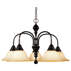 Five Light English Bronze Cream Faux Marble Glass Down Chandelier - Savoy House 1-1715-5-13