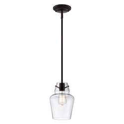 One Light English Bronze Clear Glass Down Mini Pendant - Savoy House 7-4134-1-13