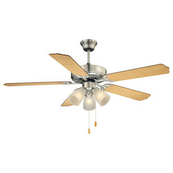 Three Light Satin Nickel Satin White Frosted Glass Ceiling Fan - Savoy House 52-EUP-5RV-SN