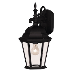 One Light Black Clear Beveled Glass Wall Lantern - Savoy House 07077-BLK