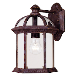 One Light Clear Beveled Glass Rustic Bronze Wall Lantern - Savoy House 5-0634-72