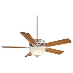 Three Light Satin Nickel White Frosted Glass Ceiling Fan - Savoy House 52-SGB-5RV-SN