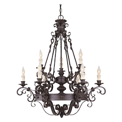 Nine Light Forged Black Up Chandelier