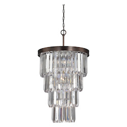 Seven Light Burnished Bronze Crystal Acrylic Multi Light Pendant - Savoy House 3-9801-7-28