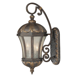 Three Light Old Tuscan Pale Cream Seeded Glass Wall Lantern - Savoy House 5-2500-306