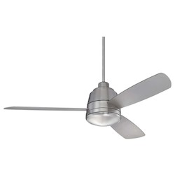 One Light Satin Nickel White Frosted Glass Ceiling Fan - Savoy House 52-417-3SV-SN