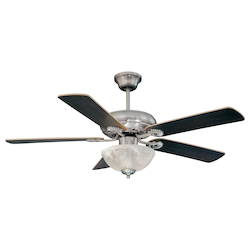 Three Light Satin Nickel White Marble Glass Ceiling Fan - Savoy House 52-411-5RV-SN