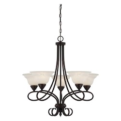 Five Light English Bronze Cream Faux Alabaster Glass Up Chandelier - Savoy House 1-120-5-13