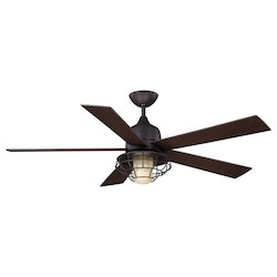 One Light English Bronze Cream Indian Scavo Glass Ceiling Fan - Savoy House 52-624-5CN-13