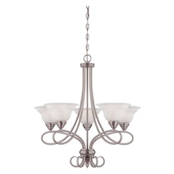 Five Light Pewter White Faux Alabaster Glass Up Chandelier - Savoy House 1-120-5-69