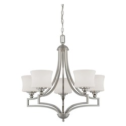 Five Light Satin Nickel Drum Shade Chandelier - Savoy House 1P-7210-5-SN