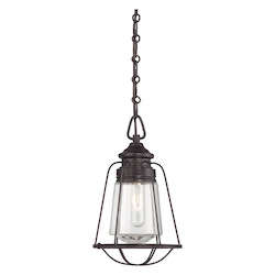 One Light English Bronze Clear Glass Down Mini Pendant - Savoy House 7-5060-1-13