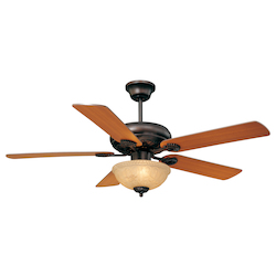 Three Light English Bronze Cream Marble Glass Ceiling Fan - Savoy House 52-411-5RV-13