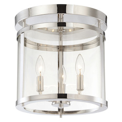 Three Light Clear Glass Polished Nickel Drum Shade Semi-Flush Mount