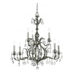 Pewter / Hand Polished Dawson 9 Light Candle Style Crystal Chandelier