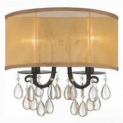 Crystorama Two Light English Bronze Silk Shade Wall Light - 5622-EB
