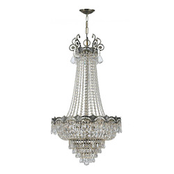 Crystorama Eight Light Historic Brass Swarovski Elements Glass Up Chandelier - 1487-HB-CL-S