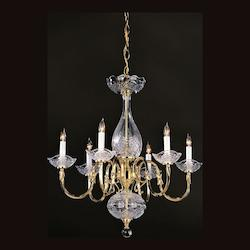 Crystorama Six Light Polished Brass Up Chandelier - 466-PB