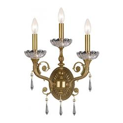 Crystorama Three Light Aged Brass Swarovski Spectra Glass Wall Light - 5173-AG-CL-SAQ