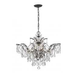 Six Light Vibrant Bronze Down Chandelier - Crystorama 4459-VZ-CL-MWP