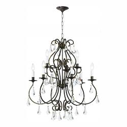 English Bronze Ashton 9 Light 26in. Wide 2 Tier Steel Candle Style Chandelier with Clear Hand Cut Crystal