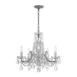 Crystorama Five Light Polished Chrome Clear Hand Cut Glass Up Chandelier - 4476-CH-CL-MWP