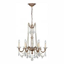 Six Light Roman Bronze Up Chandelier - Crystorama 2226-RB-CL-MWP