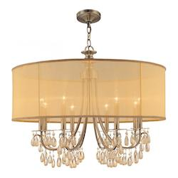 Antique Brass Hampton 8 Light 32in. Wide Brass Drum Chandelier with Smooth Oyster Crystal and Silk Shade