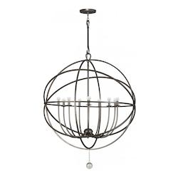 English Bronze Solaris 9 Light 40in. Wide Wrought Iron Chandelier