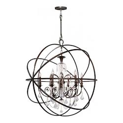 English Bronze Solaris 6 Light 40in. Wide Wrought Iron Globe Chandelier with Clear Hand Cut Crystal