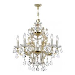 Six Light Gold Up Chandelier - Crystorama 4335-GD-CL-SAQ