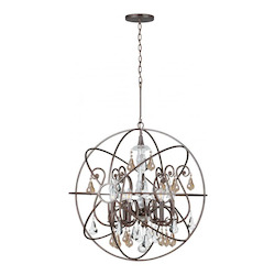 English Bronze Solaris 6 Light 28in. Wide Wrought Iron Globe Chandelier with Golden Shadow Hand Cut Crystal