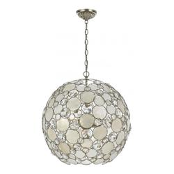 Antique Silver Palla 6 Light Globe Pendant with Natural White Capiz Shell and Hand Cut Crystal Lenses
