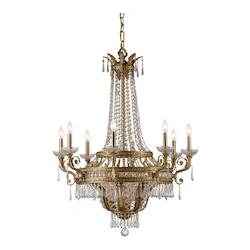 Crystorama Twelve Light Aged Brass Hand Polished Glass Up Chandelier - 5158-AG-CL-MWP