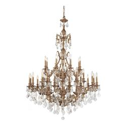 Aged Brass Yorkshire 32 Light 44in. Wide 2 Tier Cast Brass Candle Style Chandelier with Clear Swarovski Elements Crystal