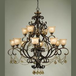 Bronze Umber Norwalk 12 Light 48in. Wide 2 Tier Wrought Iron Chandelier with Golden Teak Swarovski Elements Crystal
