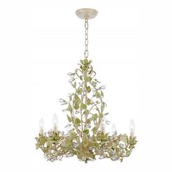 Champagne Green Tea Josie 6 Light 25in. Wide Wrought Iron Candle Style Chandelier with Clear Hand Cut Crystal
