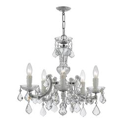 Five Light Polished Chrome Up Chandelier - Crystorama 4376-CH-CL-SAQ