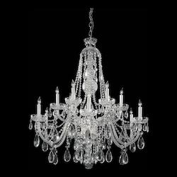 Polished Brass / Hand Polished Traditional Crystal 12 Light Crystal Candle Style Chandelier