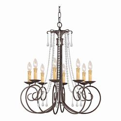 Dark Rust Soho 8 Light 28in. Wide Wrought Iron Candle Style Chandelier with Clear Swarovski Spectra Crystal
