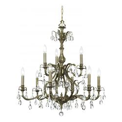 Crystorama Nine Light Antique Brass Swarovski Spectra Glass Up Chandelier - 5569-AB-CL-SAQ