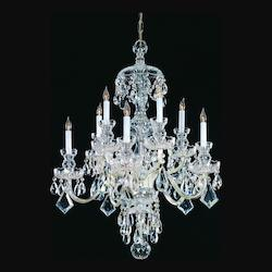 Polished Brass / Hand Polished Traditional Crystal 10 Light Crystal Candle Style Chandelier