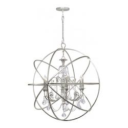 Olde Silver / Clear Hand Cut Solaris 6 Light Globe Chandelier