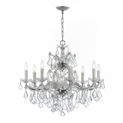 Nine Light Polished Chrome Up Chandelier