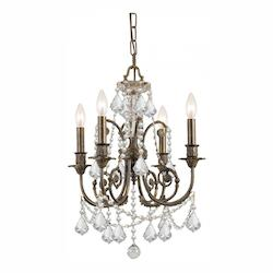 Crystorama Four Light English Bronze Hand Polished Glass Up Chandelier - 5114-EB-CL-MWP