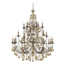 English Bronze Regis 24 Light 48in. Wide 3 Tier Wrought Iron Candle Style Chandelier with Golden Teak Hand Cut Crystal