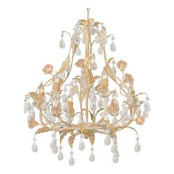 Crystorama Six Light Champagne Venetian Glass Up Chandelier - 4906-CM