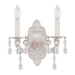 Antique White Sutton 2 Light Candle Style Crystal Double Wall Sconce