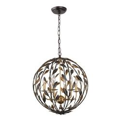 English Bronze / Antique Gold Broche 6 Light 21in. Wide Wrought Iron Globe Chandelier