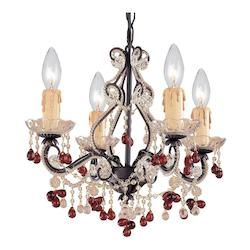 Crystorama Four Light Dark Rust Murano Crystal Glass Up Chandelier - 4504-DR